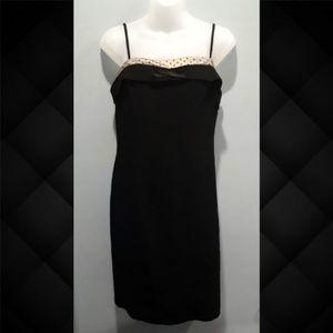 Vintage Nine West Black Sheath Dress Polka Dot Bow